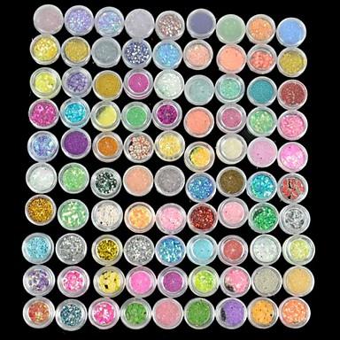 90 pcs Glitter Nail Art Kit Nagelsmycken nagel konst manikyr Pedikyr Dagligen Tecknat / Mode / Nail Smycken