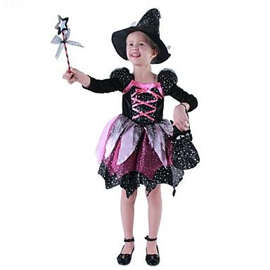 häxa Cosplay Kostymer / Dräkter Barn Halloween Karnival Barnens Dag Festival / högtid Polyester Cotton Karnival Kostymer / Vapen och Rustning / Hatt