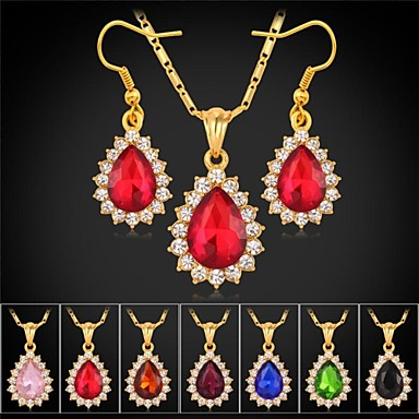 2594eec6c4cf chapado en oro de 18 quilates u7® rhinestone piedra de lujo collar colgante  cuelga los pendientes de la joyería de lujo 2597973 2019 –  14.99