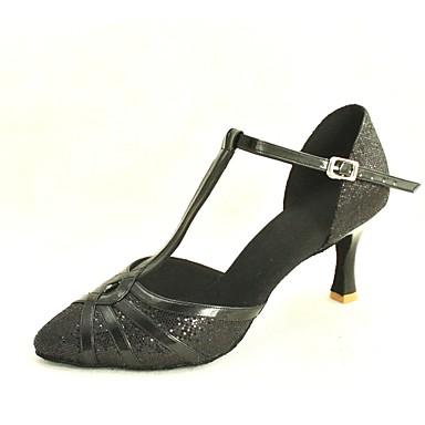 billige Utvalgte tilbud-Dame Dansesko Glimtende Glitter / Paljett Moderne sko / Standard sko Spenne Høye hæler Kustomisert hæl Kan spesialtilpasses Sølv / Blå / Gull / EU37