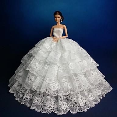 Lalka Barbie Kwiatów Koronki Białej Sukni ślubnej Sukienka 2630828