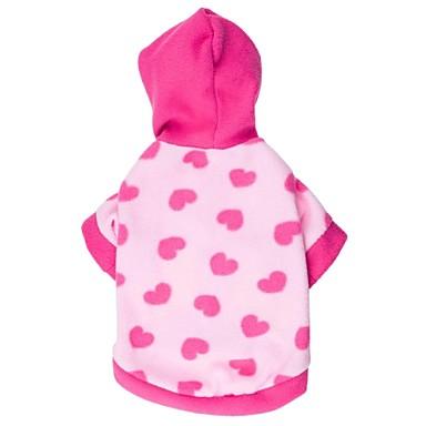 Katt Hund Huvtröjor Vinter Hundkläder Blå Rosa Kostym Polär Ull Hjärta XS S M L