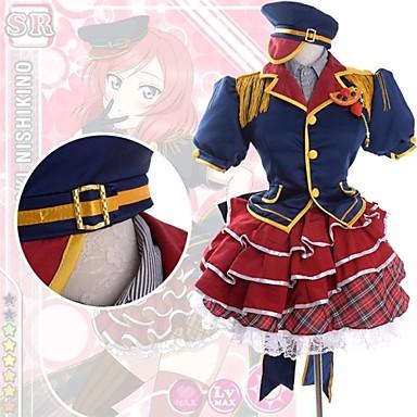 Inspirerad av Love Live Maki Nishikino Animé Cosplay-kostymer Japanska cosplay Suits Lappverk Kortärmad Skjorta / Topp / Kjol Till Dam / Huvudbonad / Satin
