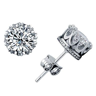 levne Dámské šperky-Dámské Diamant Kubický zirkon Peckové náušnice Solitaire Kulaté Korunka dámy Stříbro Zirkon Pozlacené Náušnice Šperky Fialová / žlutá / bílá a fialová / Bílá / stříbrná Pro
