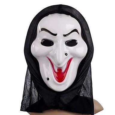 vit häxa mask med huvudet täcker praktiskt skämt läskiga cosplay prylar för halloween dräktparty