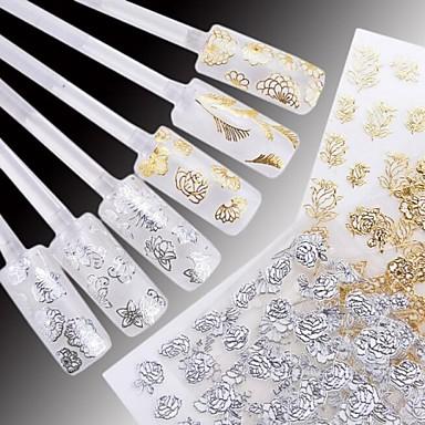 24 pcs 3D Nagelstickers Vattenöverföringsklistermärke nagel konst manikyr Pedikyr Blomma / Bröllop / Mode Dagligen / Plast / 3D Nail Stickers