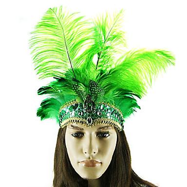 danza del vientre avestruz pluma verde de estilo indio del carnaval