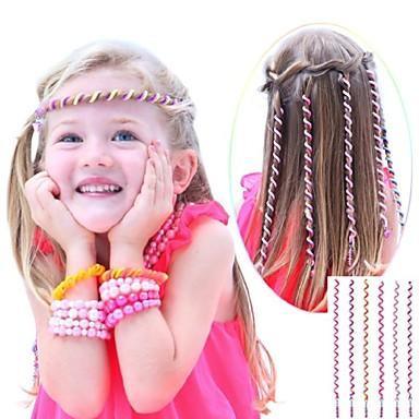 6st 24cm rosa barns lockigt hår rep