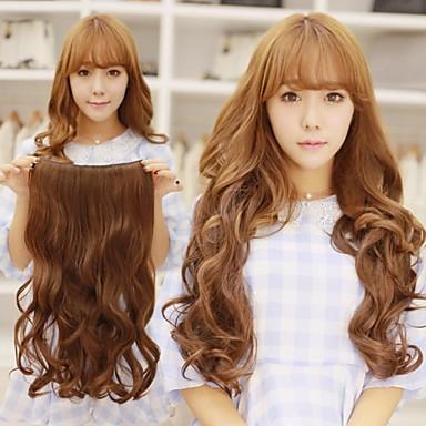 fluffig hög temperatur resistenta långt vågigt hår och klipp i hårförlängning med 5 clips
