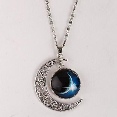 levne Dámské šperky-Dámské Náhrdelníky s přívěšky Galaxie Crescent Moon Miluji tě na měsíc a zpět Levný Magie stylové Jednoduchý Visací Slitina Stříbrná Náhrdelníky Šperky Pro Dar Ležérní Denní Dovolená