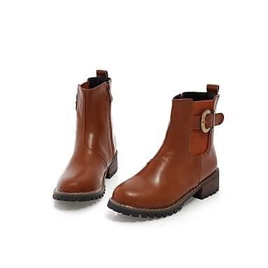 Ancho Dedo Cuero Zapatos Tacón De Mujer Redondocargadores Sintético 6x4fw7qXOg