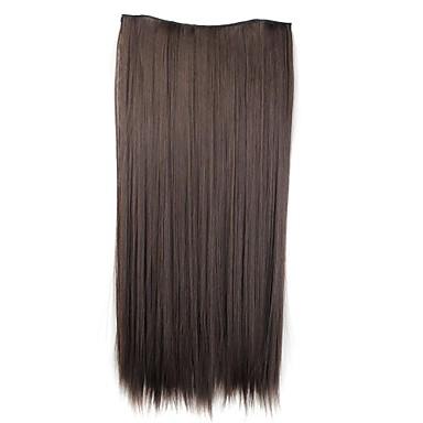 levne Syntetické příčesky-Příčesky z pravých vlasů Klasický Prodlužování vlasů Na připnutí Hnědá Denní