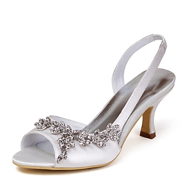 cheap Wedding Shoes-Women's Wedding Shoes Glitter Crystal Sequined Jeweled Stiletto Heel Peep Toe Basic Wedding Crystal Solid Colored Satin Stretch Satin Summer White / Black / Purple