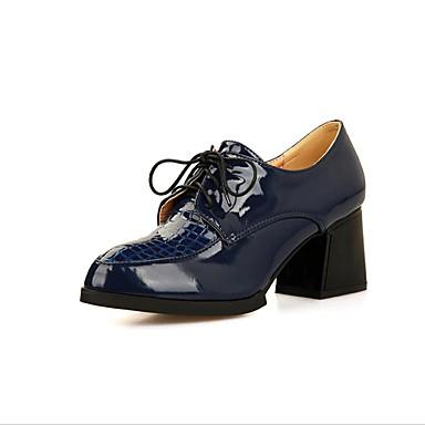 Chaussures Femme - Habillé - Noir   Bleu   Blanc - Gros Talon - Talons    Bout Arrondi - Richelieu - Cuir Verni de 2709285 2019 à  34.99 6d84d4f54904