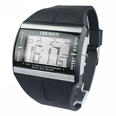 Heren Digitaal horloge Japans Alarm / Kalender / Chronograaf Rubber Band Amulet Zwart