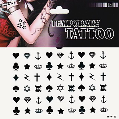 1szt Serce Pik Tatuaż Krzyż Klub Diament Naklejki Tatuaże 2683790
