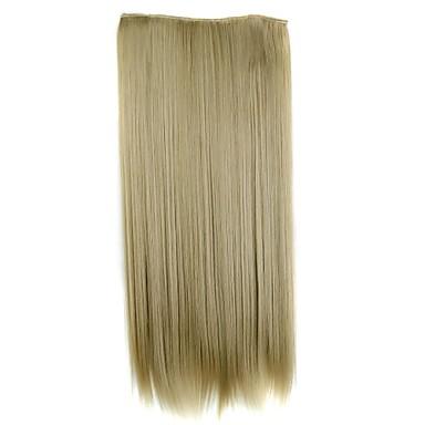 levne Syntetické příčesky-Syntetické rozšíření Volný Umělé vlasy 24 inch Prodlužování vlasů Na připnutí Blonďatá Dámské Denní