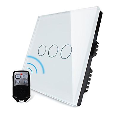 66801ffe5362 uk szabvány, livolo fehér kristály üveg panel, vezeték nélküli távirányító  otthoni fény, 3gang 1way kapcsoló, 110-250vac 2283383 2019 – $34.54