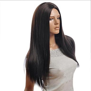 Syntetiska peruker Rak Rak Asymmetrisk frisyr Peruk Lång Svart Syntetiskt hår 25 tum Dam Naturlig hårlinje Svart