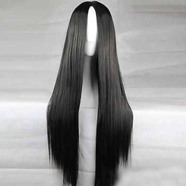 billige Syntetiske parykker-Syntetiske parykker Rett Kardashian Stil Asymmetrisk frisyre Parykk Svart Syntetisk hår 28 tommers Dame Naturlig hårlinje Svart Parykk Lang