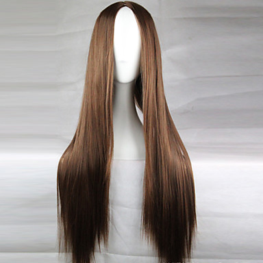 cheap Wigs & Hair Pieces-Cosplay Costume Wig Synthetic Wig Straight Straight Asymmetrical Wig Long Light Brown Dark Brown Black#1B Blonde Red Synthetic Hair 28 inch Women's Natural Hairline Middle Part Brown