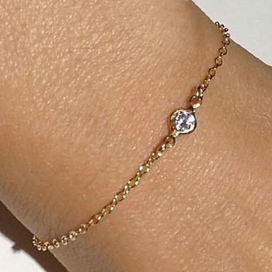 Kedje & Länk Armband Läcker damer Lyx Delikat Bergkristall Armband Smycken Guld Till Julklappar Party Dagligen Casual / Diamantimitation