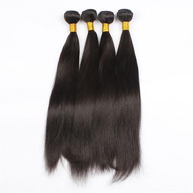 povoljno Ekstenzije od ljudske kose-PANSY potka Proširenja ljudske kose Ravan kroj Ljudska kosa Brazilska kosa 24 inch Žene Prirodna crna / 8A