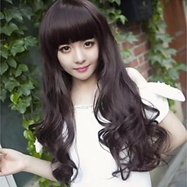 Syntetiska peruker Lockigt Löst vågigt Naturligt vågigt Naturligt vågigt Lockigt Peruk Brunsvart Syntetiskt hår 25 tum Dam Svart