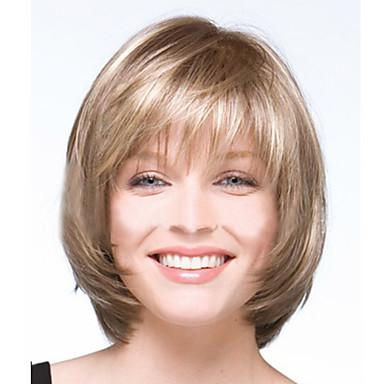 Syntetiska peruker Rak Naturligt vågigt Naturligt vågigt Rak Bob-frisyr Med lugg Peruk Blond Korta Ljusblond Syntetiskt hår Dam Blond StrongBeauty