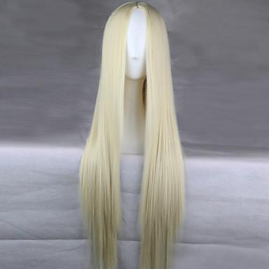 Cosplay Peruker Syntetiska peruker Rak Rak Asymmetrisk frisyr Peruk Blond Lång Kräm Syntetiskt hår 28 tum Dam Naturlig hårlinje Blond