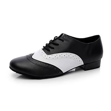 preiswerte Swing Tanzschuhe-Herrn Tanzschuhe Leder Ballsaal / Swing Schuhe Absätze Flacher Absatz Keine Maßfertigung möglich Schwarz und Weiss / EU43