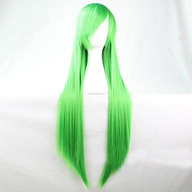 Cosplay Peruker Syntetiska peruker Rak Rak Asymmetrisk frisyr Peruk Lång Grön Syntetiskt hår 28 tum Dam Naturlig hårlinje Grön