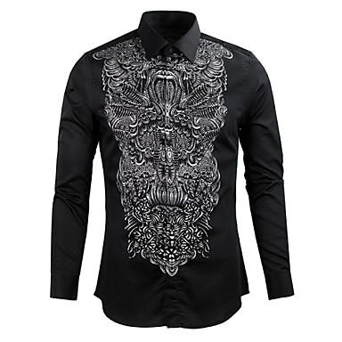 ajuste hombres 2019 delgados larga camisas de manga vestir del de impresión de ocasional estilo con 2833485 UUBWZ