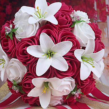 A Bouquet Of 26 PE Simulation Roses And White Lily Wedding Bride Holding FlowersRose Red 2873860 2017 1399