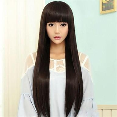 Syntetiska peruker Rak Rak Pixie-frisyr Peruk Lång Naturlig svart Syntetiskt hår 25 tum Dam Naturlig hårlinje Svart