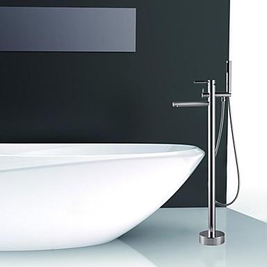 Badkarskran - Nutida Krom Golvmonterad Keramisk Ventil Bath Shower Mixer Taps / Singel Handtag Ett hål