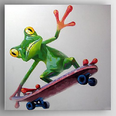 Oil Painting Modern Abstract Frog with Skateboard Hand Painted ...