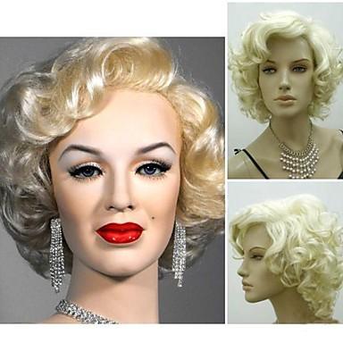 halpa Rooliasu peruukki-Synteettiset peruukit Kihara Tyyli Peruukki Vaaleahiuksisuus Lyhyt Blonde Synteettiset hiukset 4 inch Naisten Hopea Vaaleahiuksisuus Peruukki StrongBeauty