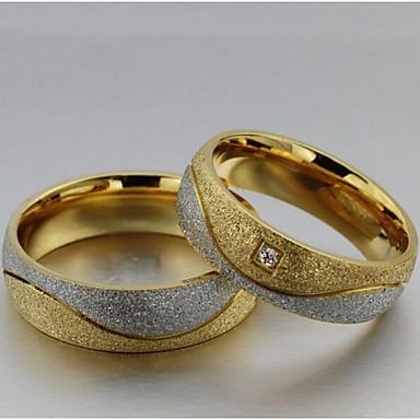 billige Fuskediamant-Dame Parringer Statement Ring Groove Rings Syntetisk Diamant 2pcs Gull / Hvit Titanium Stål Fuskediamant Sirkelformet damer Bryllup Fest Smykker Kjærlighed