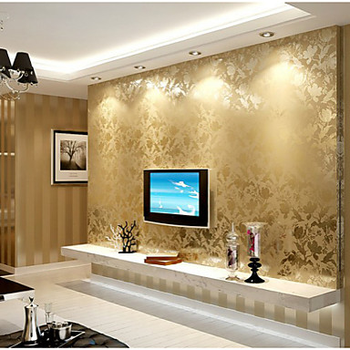 Country Wallpaper Floral Dark Gold Bruce Style Flower And