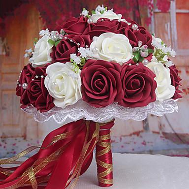 un bouquet de 30 roses pe de simulation de mariage bouquet de mariage  mariée tenant des fleurs, bordeaux et blanc de 2873802 2018 à $17.24