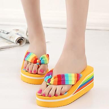 58f4407daca Women s Shoes Fabric Wedge Heel Platform Flip Flops Sandals Casual Black Blue Yellow  2815052 2019 –  22.99