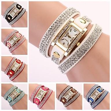 levne Dámské-Dámské Náramkové hodinky Diamond Watch Square Watch Křemenný Z umělé kůže Černá / Bílá / Modrá Analogové dámy Třpyt Cikánské Módní - Modrá Růžová Světle modrá Jeden rok Životnost baterie / Jinli 377