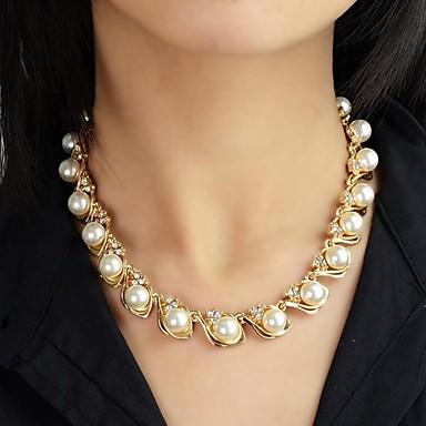 Dam Pärla Strands halsband Pärlhalsband Rosary Chain damer Mode Pärla Legering Halsband Smycken Till Bröllop Party Dagligen Casual