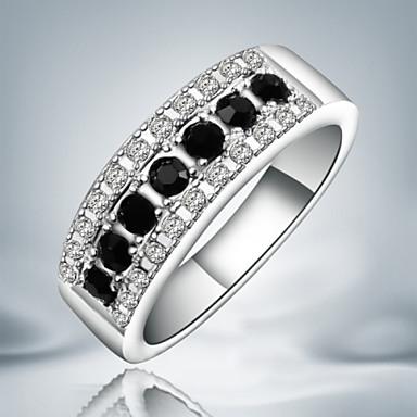Dam Bandring Kubisk Zirkoniumoxid Silver Sterlingsilver Kubisk Zirkoniumoxid Obsidian Statement Mode Party Smycken / Diamantimitation