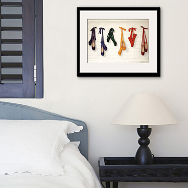 e-HOME enmarcado arte de la lona, zapatillas de ballet enmarcado ...
