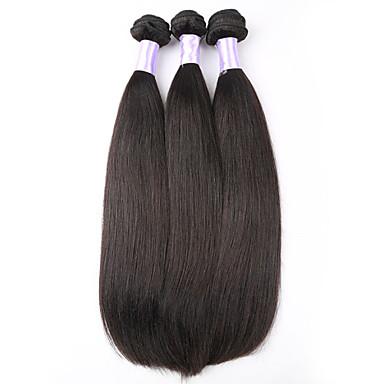 3 paket Peruanskt hår Rak Human Hår vävar Hårförlängning av äkta hår Människohår förlängningar / 8A