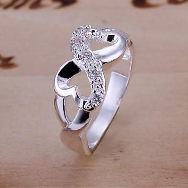 billige Motering-Dame Statement Ring Syntetisk Diamant Sølvplett Fuskediamant damer Luksus Bryllup Fest Smykker evighet stardust / Zirkonium