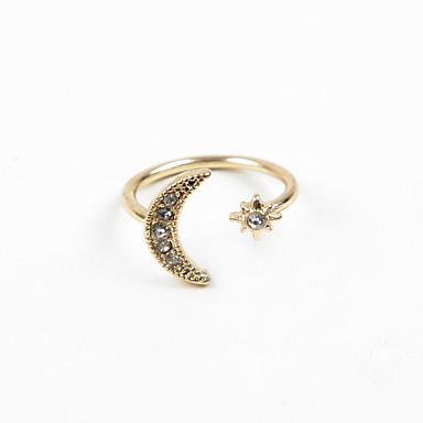 billige Motering-Dame Ring vikle ring tommelfingerring Sølv Gylden Strass Fuskediamant Legering damer Bryllup Fest Smykker MOON Justerbar