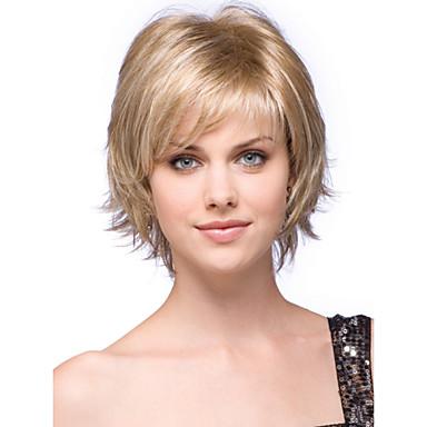 Mänskligt hår Peruk Korta Vågigt Bob-frisyr Frisyr i lager Korta frisyrer 2019 Med lugg Vågigt Sidodel Utan lock Dam Svart Blond Blondin / Blekblondin 10 tum